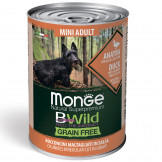 Консервы Monge Dog BWild Grainfree Adult Mini из Утки с Тыквой и Кабачками для Собак Мелких Пород