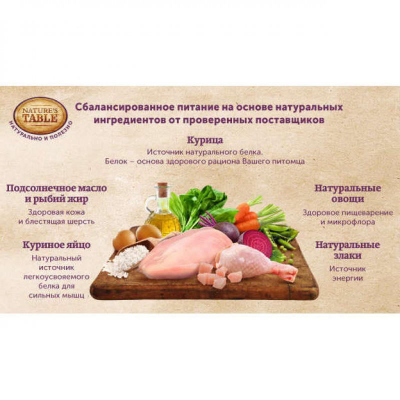 Корм Nature's Table для Собак Мелких Пород Курица с Рисом