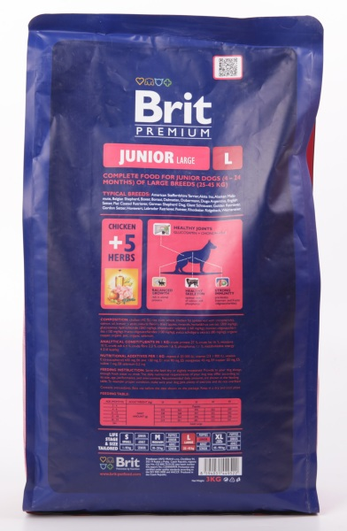 Brit Premium Junior L для Щенков и Молодых Собак Крупных Пород